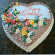Flower Basket On Heart-Shaped Custom Birthday Cake Design